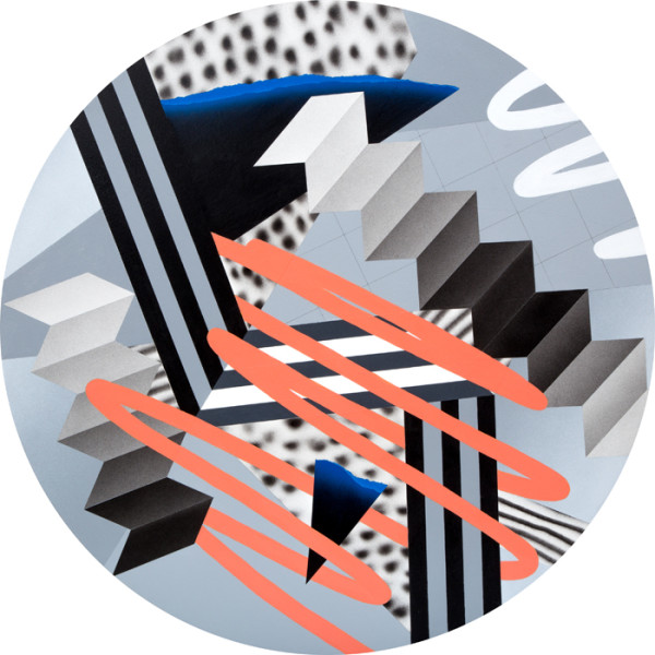 Monochrome Variation II (Peach & Blue)Acrylic & cut paper on canvas over panel 36 x 36 inches