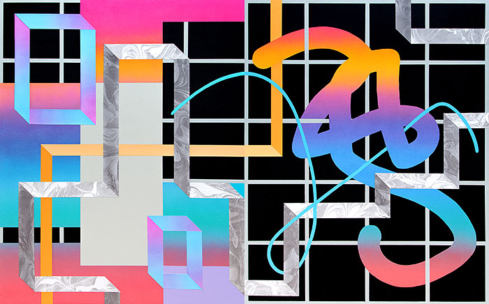 Positive Negative (Diptych)Acrylic,and cut paper on canvas over panel 40 x 64 inches