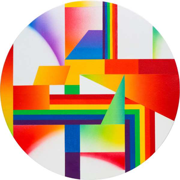 Rainbow Variation VIIAcrylic on paper and canvas over panel 18 x 18 inches