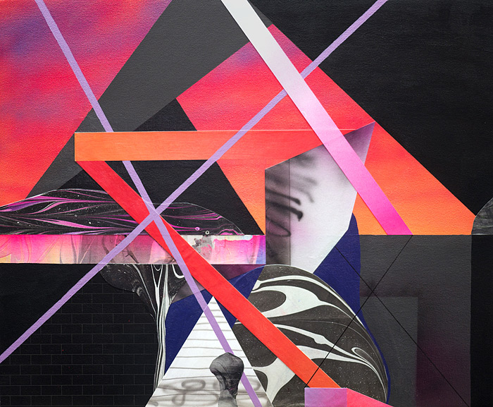 In The DistanceAcrylic, cut paper, and ink on canvas over panel 20 x 24 inches