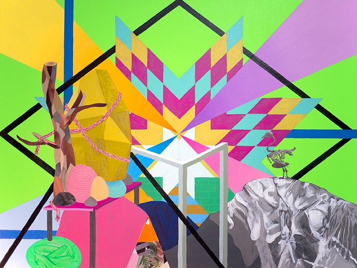 MoundAcrylic, collage & pencil on canvas 30 x 40 inches