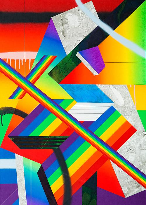 Rainbow Piece IIIAcrylic & ink on canvas over panel 28 x 20 inches