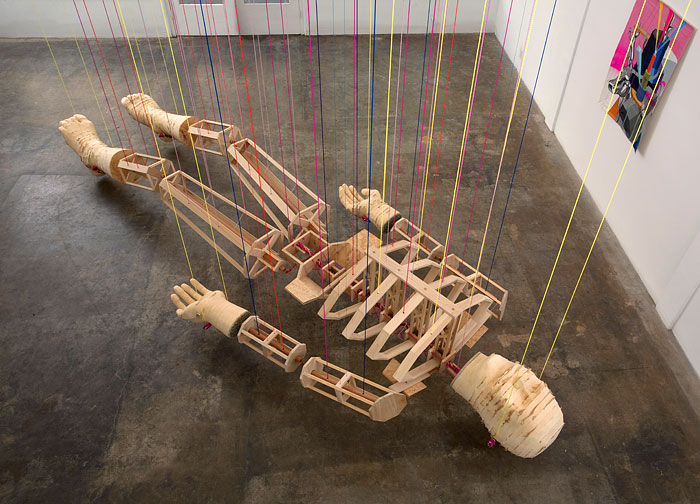 Dead ManWood, Foam, OSB, Brass, String and Rope 36 x 84 x 216 inches